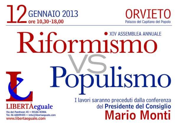 Riformismo vs Populismo invito